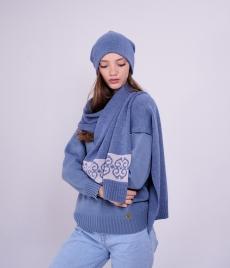Комплект шапка и шарф с жаккардовой вставкой